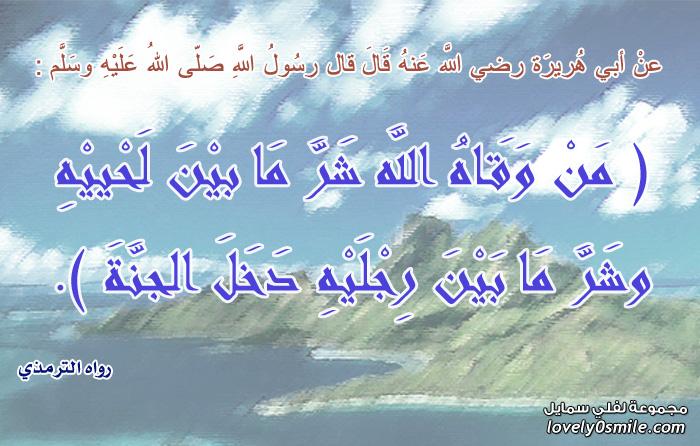من وقاه الله شر ما بين لحييه وشر ما بين رجليه دخل الجنة