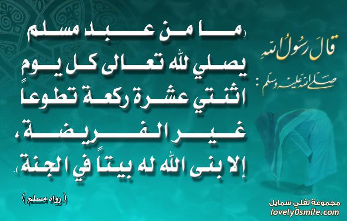 فضل السنن الرواتب : ما من عبد مسلم يصلى لله تعالى كل يوم اثنتي عشرة ركعة تطوعاً