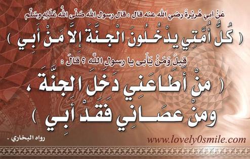 كل أمتي يدخلون الجنة إلا من أبى قيل ومن يأبى يا رسول الله؟ قال: من أطاعني دخل الجنة