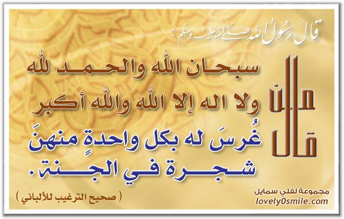 من قال سبحان الله والحمد لله ولا إله إلا الله والله أكبر غرس له بكل واحدة منهن