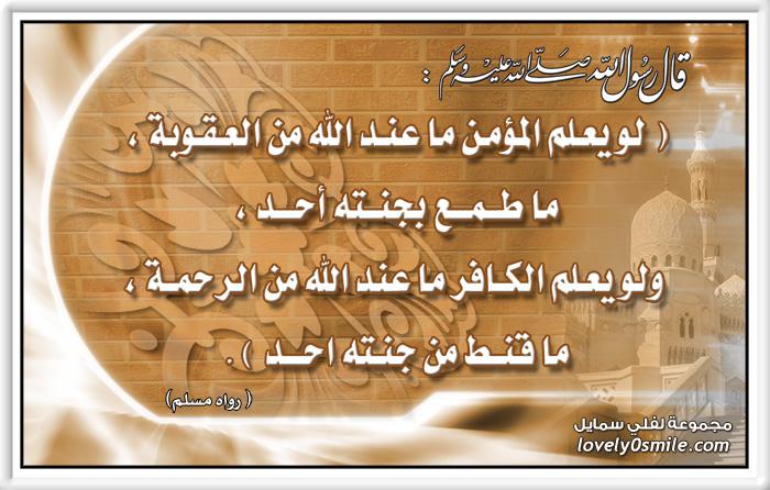 لو يعلم المؤمن ما عند الله من العقوبة ما طمع بجنته أحد ولو يعلم الكافر ما عند الله