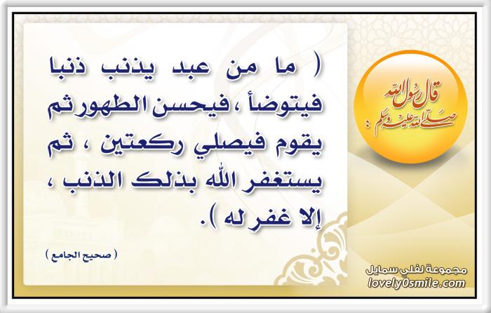 ما من عبد يذنب ذنبا فيتوضأ فيحسن الطهور ثم يقوم فيصلي ركعتين ثم يستغفر الله بذلك الذنب