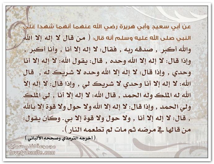 من قال: لا إله إلا الله والله أكبر صدقه ربه وقال: لا إله إلا أنا وأنا أكبر