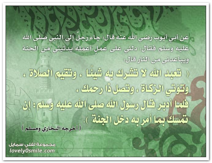 جاء رجل إلى النبي عليه السلام فقال: دلني على عمل أعمله يدنيني من الجنة ويباعدني من النار