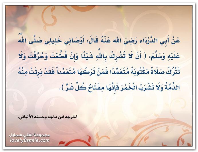 أوصاني خليلي صلى الله عليه وسلم: أن لا تشرك بالله شيئاً وإن قُطِعتَ وحُرِقت ولا تترك صلاة مكتوبة متعمداً