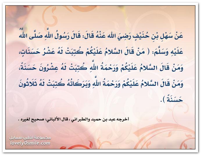 من قال السلام عليكم كتبت له عشر حسنات من قال السلام عليكم ورحمة الله كتبت له عشرون حسنة