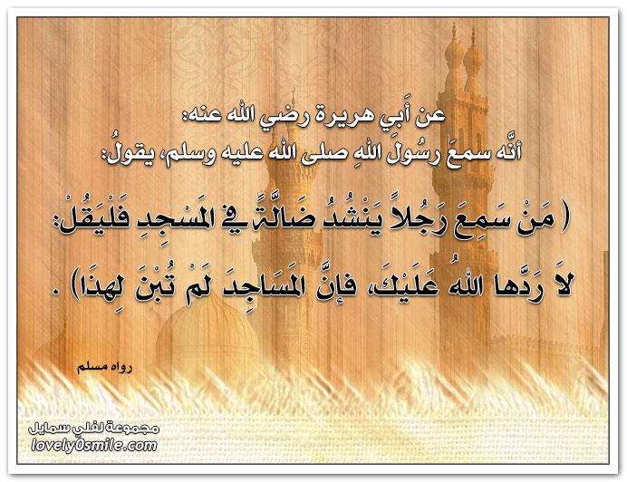 من سمع رجلاً ينشد ضالةً في المسجد فليقل: لا ردها الله عليك فإن المساجد لم تبن لهذا