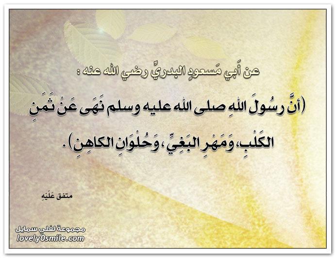 عن أبي مسعود البدري قال: أن رسول الله نهى عن ثمن الكلب ومهر البغي وحلوان الكاهن