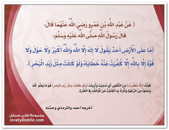 ما على الأرض أحد يقول لا إله إلا الله والله أكبر ولا حول ولا قوة إلا بالله إلا كفرت عنه خطاياه