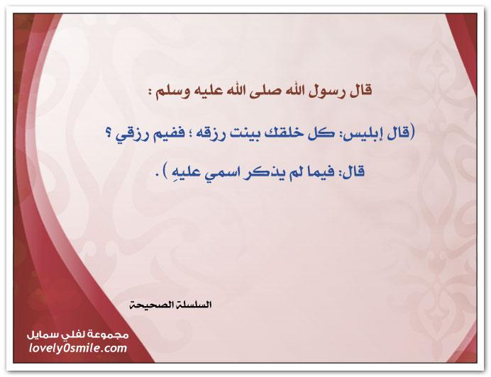 قال إبليس: كل خلقك بينت رزقه ؛ ففيم رزقي ؟ قال: فيما لم يذكر اسمي عليه
