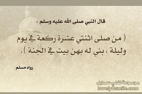 بطاقة بلاك بيري: ما من عبد مسلم يصلي لله تعالى كل يوم اثنتي عشرة ركعة تطوعاً غير الفريضة إلا بنى الله