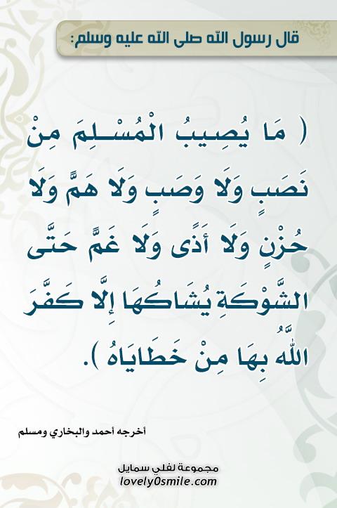 ما يصيب المسلم من نصب ولا وصب ولا هم ولا حزن ولا أذى ولا غم حتى الشوكة يُشاكُها إلا كفَّر الله بها من خطاياه