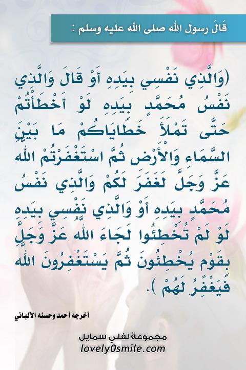 والذي نفس محمد بيده لو أخطأتم حتى تملأ خطاياكم