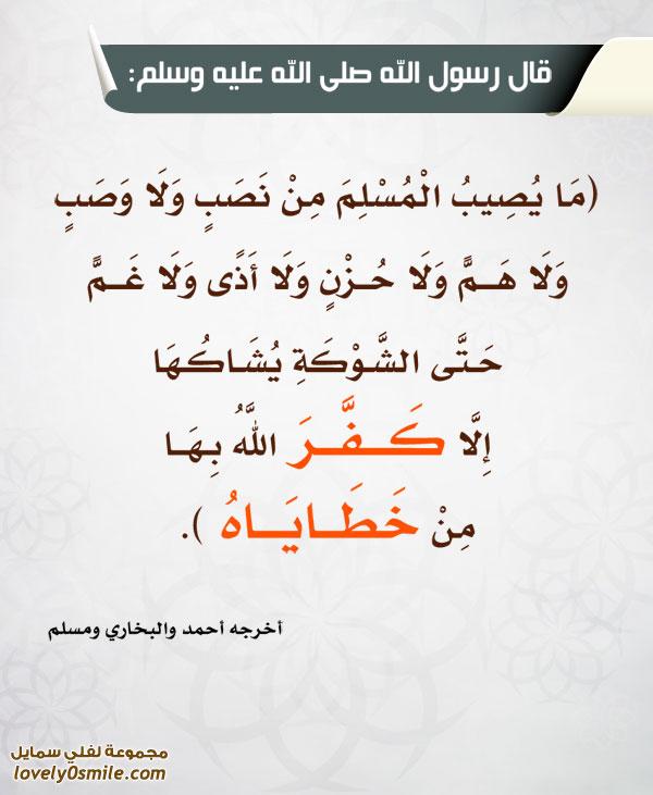 ما يصيب المسلم من نصب ولا وصب ولا هم ولا حزن ولا أذى ولا غم