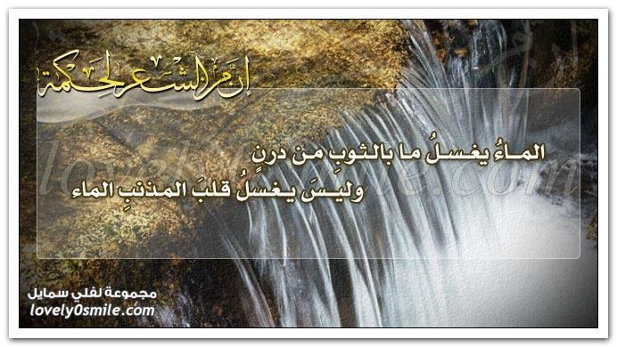 الماء يغسل ما بالثوب من درن وليس يغسل قلب المذنب الماء