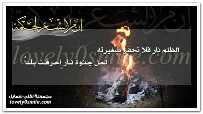 الظلم نار فلا تحقر صغيرته لعل جذوة نار أحرقت بلدا