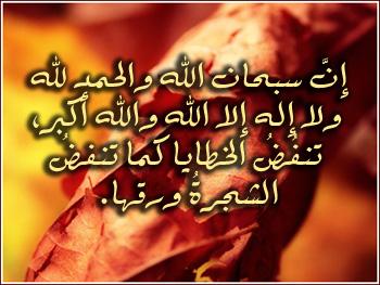 إن سبحان الله والحمد لله ولا إله إلا الله والله أكبر تنفض الخطايا كما تنفض الشجرة