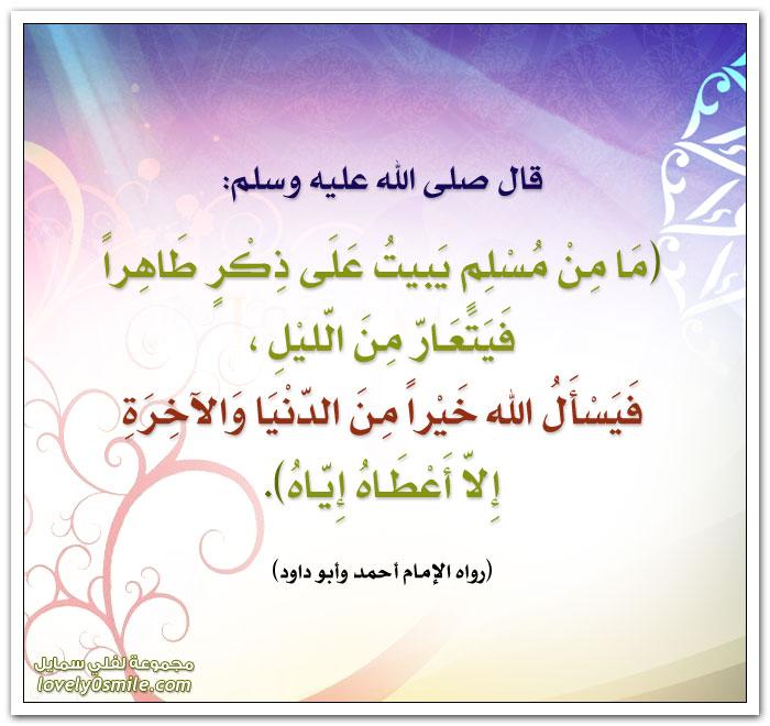 ما من مسلم يبيت على ذِكرٍ طاهراً فيتعارّ من الليل فيسأل الله خيراً من الدنيا والأخرة إلا أعطاه إياه