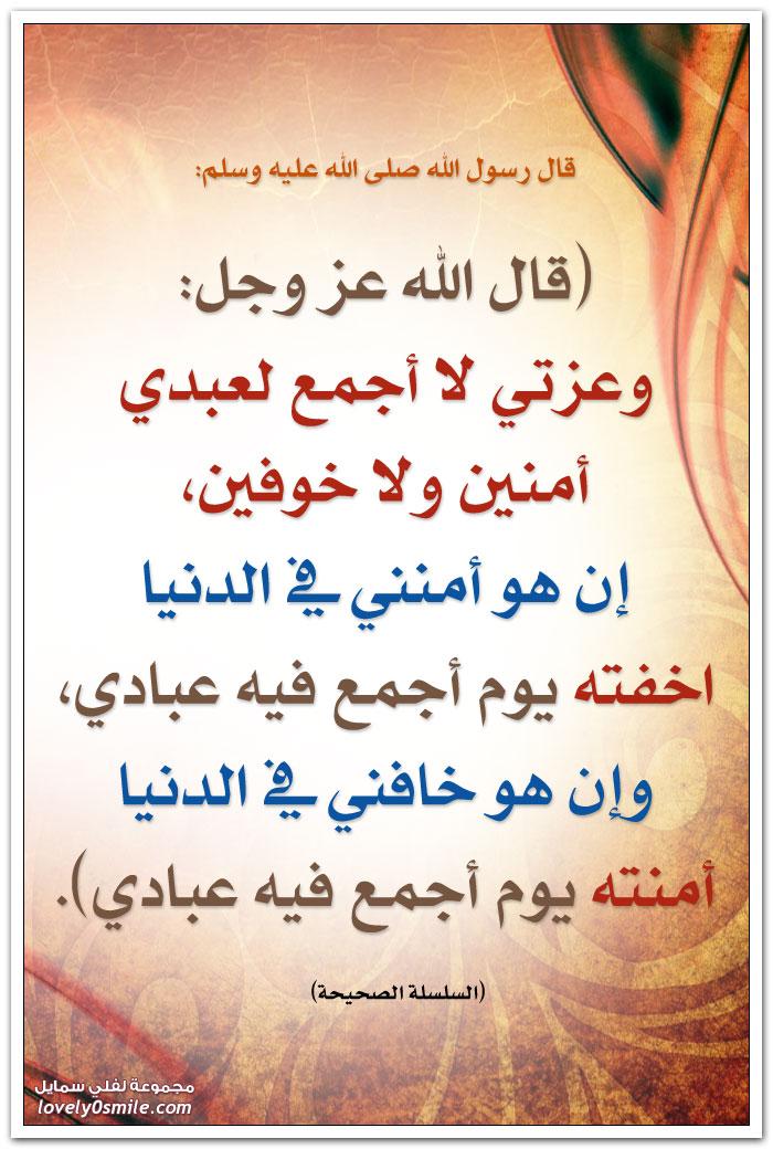قال الله عز وجل: وعزتي لا أجمع لعبدي أمنين ولا خوفين