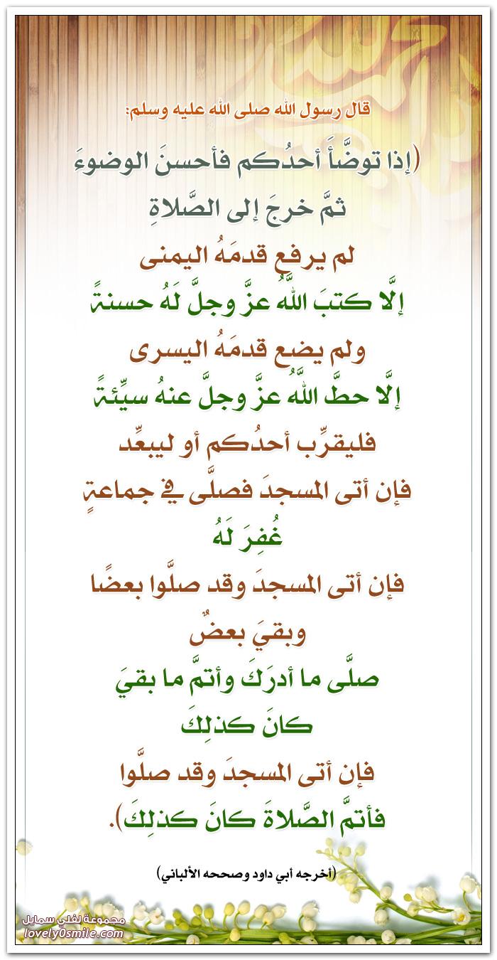 إذا توضأ أحدكم فأحسن الوضوء ثم خرج إلى الصلاة لم يرفع قدمه اليمنى إلا كتب اللَّهُ عزَّ وجلَّ لَهُ حسنةً ولم يضع قدمَهُ اليسرى إلَّا حطَّ اللَّهُ عزَّ وجلَّ عنهُ سيِّئةً فليقرِّب أحدُكم أو ليبعِّد فإن أتى المسجدَ فصلَّى في جماعةٍ غُفِرَ لَهُ فإن أتى المسجدَ وقد صلَّوا بعضًا وبقيَ بعضٌ صلَّى ما أدرَكَ وأتمَّ ما بقيَ كانَ كذلِكَ فإن أتى المسجدَ وقد صلَّوا فأتمَّ الصَّلاةَ كانَ كذلِكَ