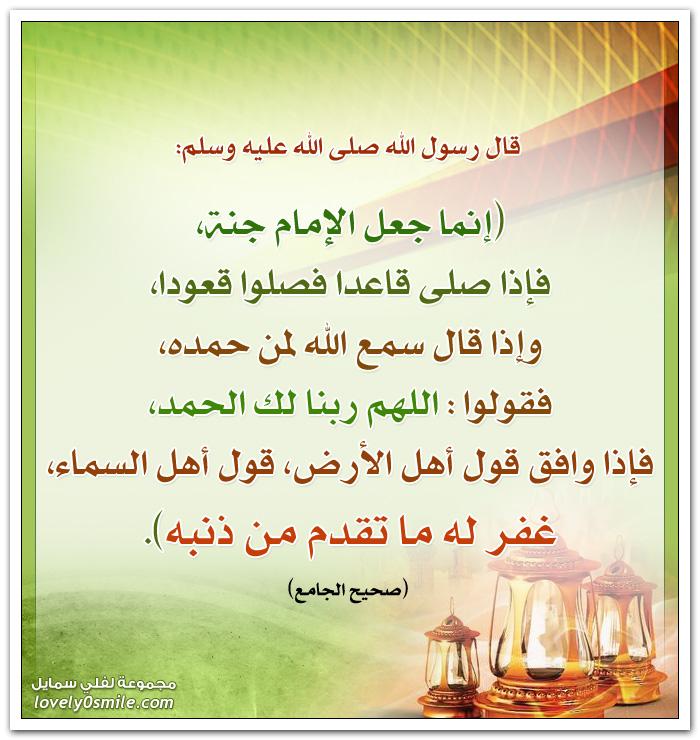 إنما جعل الإمام جنة فإذا صلى قاعدا فصلوا قعودا