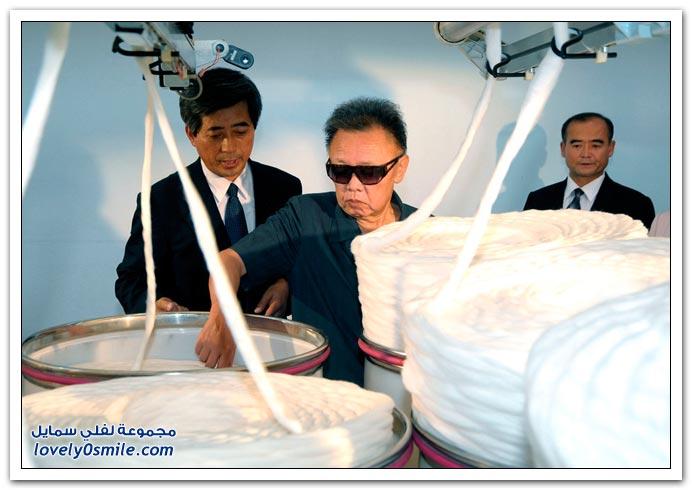 صور الزعيم الكوري الشمالي كيم جونج ايل وجولة في مصانع كوريا الشمالية