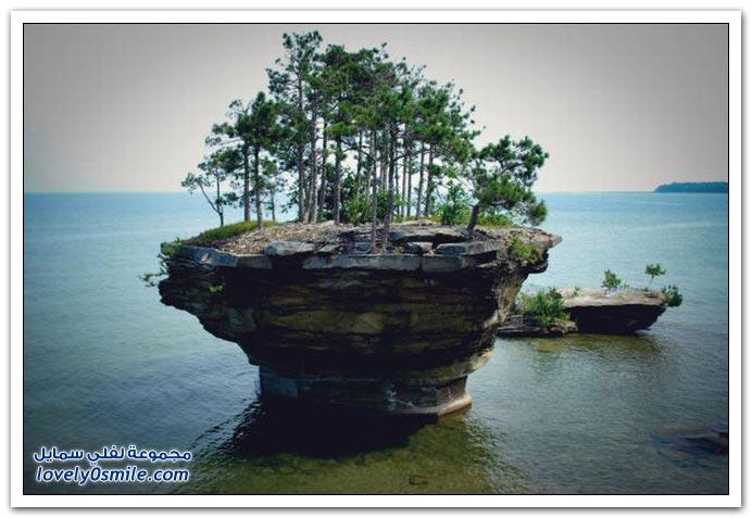 صور: جزيرة صغيرة على الشاطئ