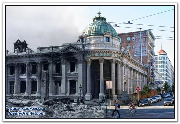 دمج صور الحاضر بالماضي بعد زلزال سان فرانسيسكو الذي وقع في عام 1906