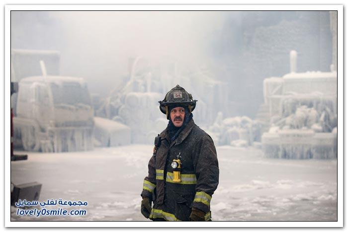 حريق وسط الصقيع في شيكاغو