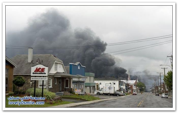 انفجار ضخم لقطار يحمل صهاريج نفط في كندا