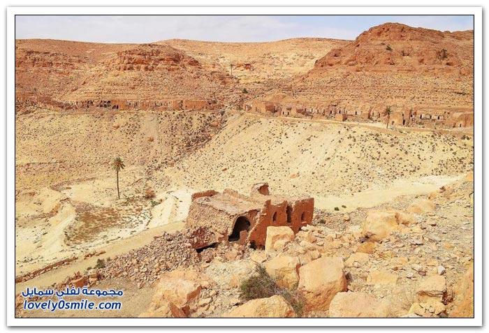 منازل على الجبال في تطاوين جنوب تونس
