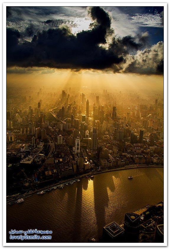 تصوير شنغهاي من على رافعة
