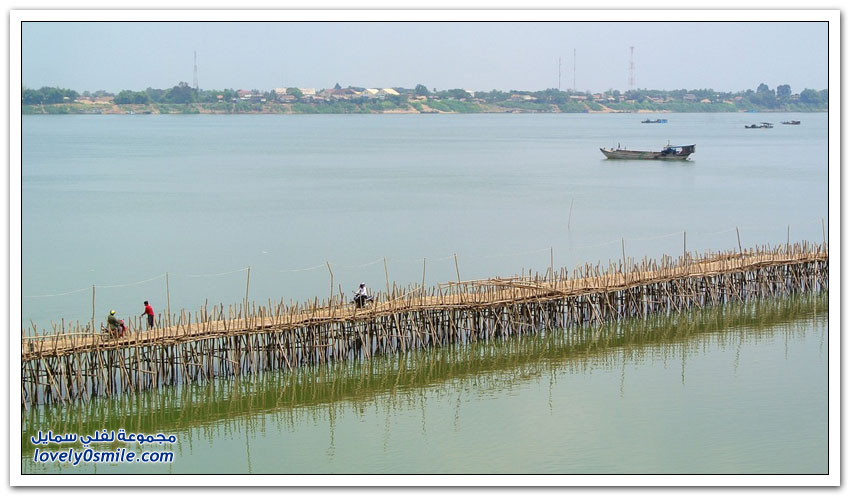 جسر الخيزران في كمبوديا يُفَكك ويُبْنى كل عام