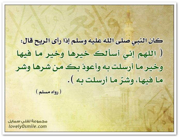 دعاء النبي إذا رأى الريح: اللهم إني أسألك خيرها وخير ما فيها وخير ما أرسلت به وأعوذ بك