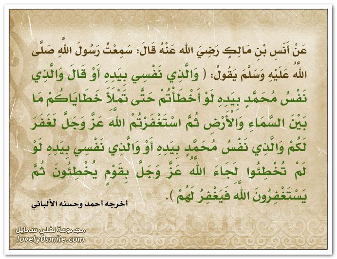 والذي نفسي بيده أو قال والذي نفس محمد بيده لو أخطأتم حتى تملأ خطاياكم ما بين السماء والأرض ثم