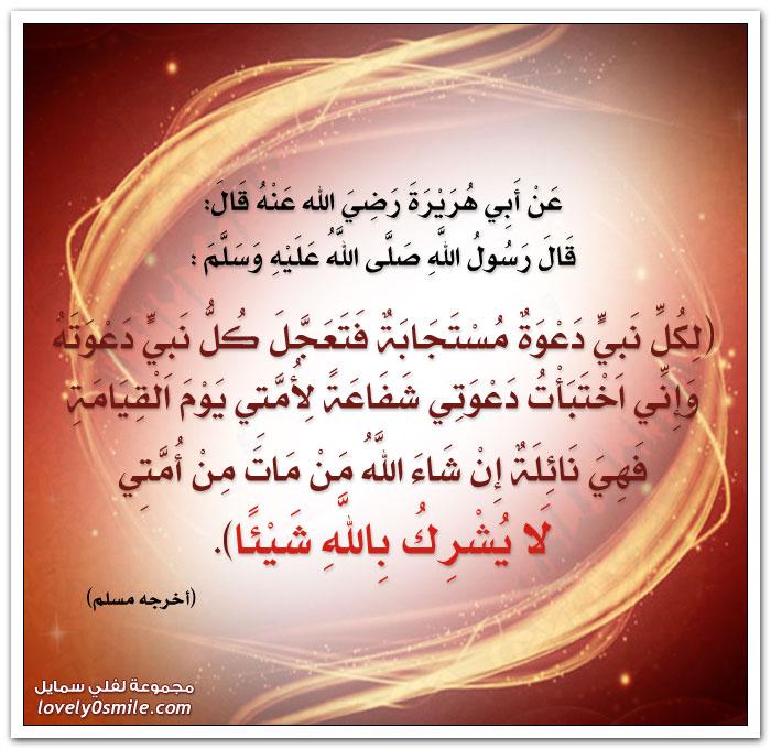 لكل نبي دعوة مستجابة فتعجل كل نبي دعوته وإني اختبأت دعوتي شفاعة لأمتي يوم القيامة فهي نائلة